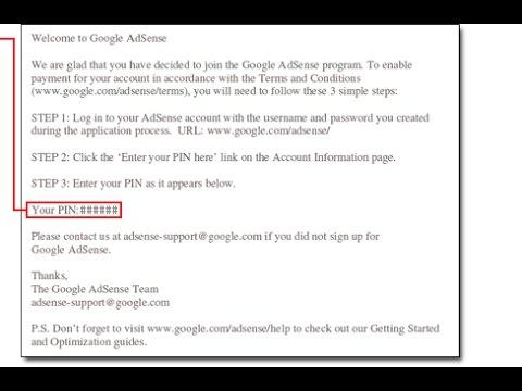 Google Adsense Receive Pin Code in 2016