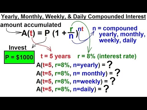 PreCalculus - Exponential Function (6 of 13) Yearly, Monthly, Weekly, Daily Compounded Interest