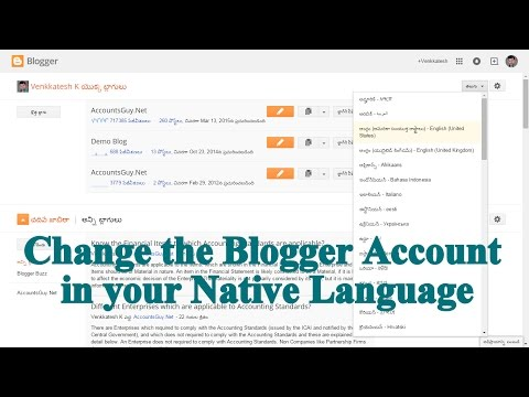 How to change the Language of Google Blogger Account?