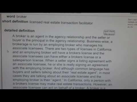 broker CA Real Estate License Exam Top Pass Words VocabUBee.com