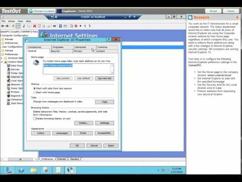 Lab 2.8.4 Configure Internet Explorer Settings in a GPO
