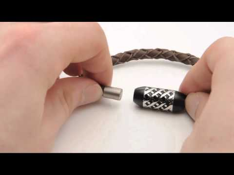 Rebel 316 Jewelry Men's Genuine Leather Bracelet with Intricate Patterned Magnetic Clasp - RBBR013