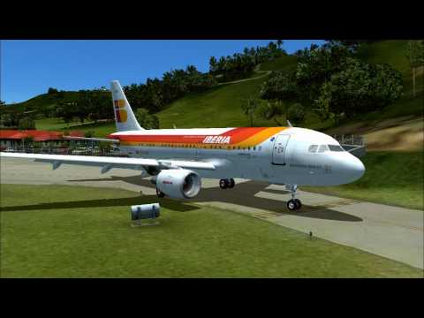 A319 takeoff and landing at St Bart