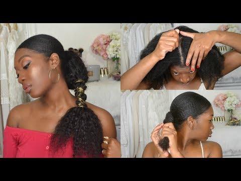 Wire Wrapped Ponytail Tutorial | Long, Sleek & Low Ponytail | 4b Natural Hair |  feat Ali Julia Hair
