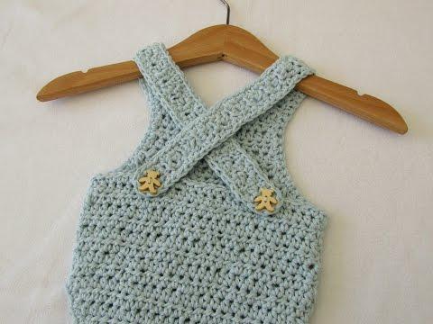 VERY EASY crochet cross back baby romper / onesie tutorial