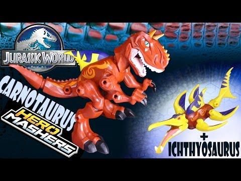 Opening: Jurassic World CARNOTAURUS Hero Mashers (with Ichthyosaurus parts)