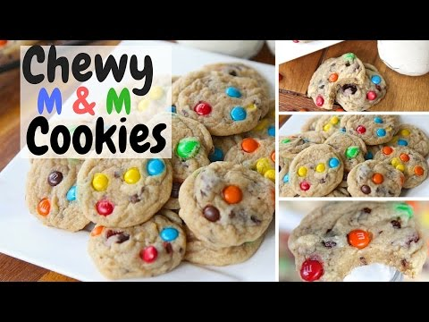 Soft n Chewy M&M Cookies~ Homemade easy recipe!