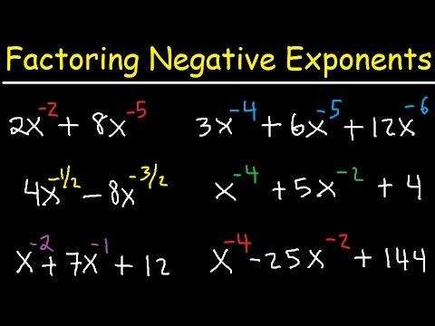 Factoring Negative Fractional Exponents - Polynomials & Trinomials - Quadratic Equations, Algebra