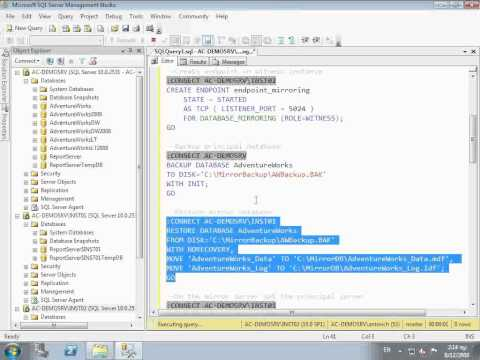 Implement Database Mirroring in SQL Server
