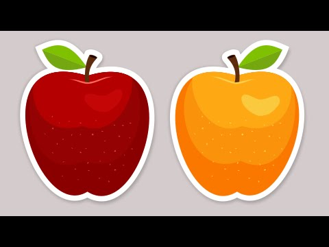 Creative apple sticker vector graphics - Coreldraw tutorials