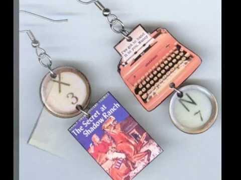Book Typewriter Earring Desings