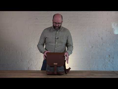 Crafted Canvas and Leather Laptop Bag | Pad & Quill Slim Laptop Satchel Review
