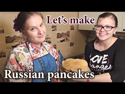 Russian food - cooking Russian pancakes, blini recipe, Russian cuisine, crepes, русские блины