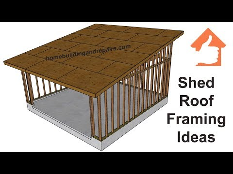 Conventional Shed Roof Framing Design for Two-Car Garage With 4:12 Pitch or Slope