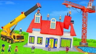 Fire Truck, Crane, Excavator & Toy Vehicles on Construction Site for Kids