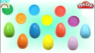 Play Doh creation inside surprise eggs for kids (striped cat showing with a finger)