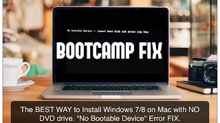 How to solve Mac OS Bootcamp Error No Bootable device  Insert boot