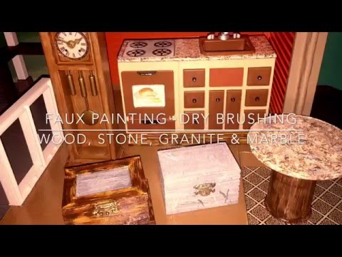 How To Do FAUX Granite Marble Wood & Stone w/ Dry Brush Technique for Doll House Furniture TUTORIAL