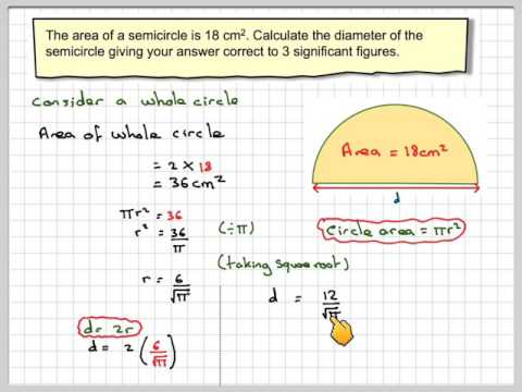 Finding the diameter of a semicircle from its area
