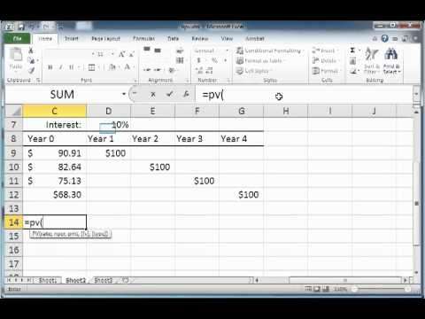 Computing the present value of future cash flows using the Excel PV function