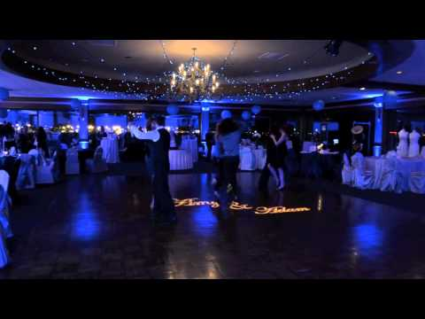 Blue theme wedding lighting in Cleveland, Ohio
