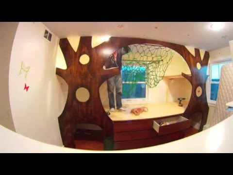 DIY Kid's Indoor Treehouse Bedroom Makeover Time Lapse on a budget w/ a hammock