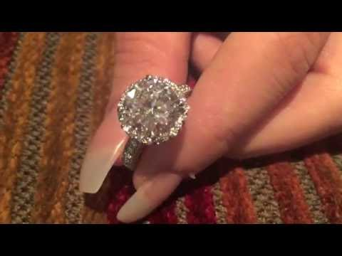 4 Carat High Quality Round Cubic Zirconia Solid Platinum Engagement Ring With Halo Pave