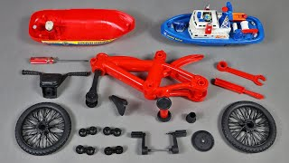 Assemble Red Mountain Bicycle and Marine Rescue High Speed Boat | Toy Vehicles Attached