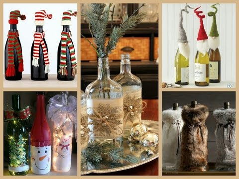 50+ Christmas Bottle Decorating Ideas
