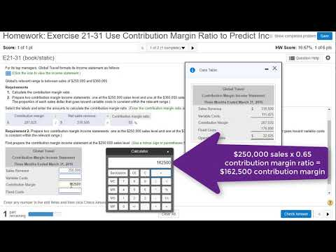 E21-31 Use Contribution Margin Ratio to Predict Operating Income