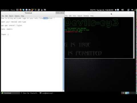 Banner or wellcome logo on kali linux terminal