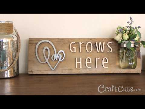 Love Grows Reclaimed Wood Sign and Vase