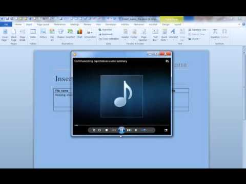 Inserting audio or video clips into Microsoft Word 2010