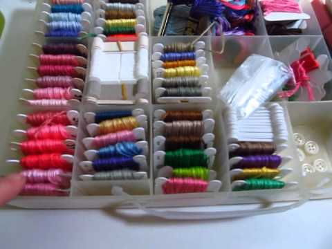 Large Lot of Embroidery Floss Skeins and Creative Options Storage Case For Sale
