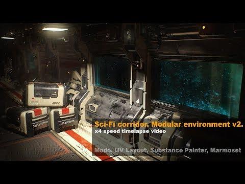 Sci-Fi Corridor. Modular environment v2. Modo, UVLayout, SubstancePainter, Marmoset.