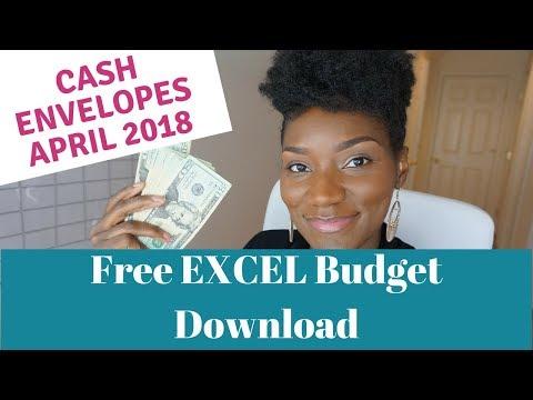 April 2018 Cash Envelopes  Cash Envelope Budgeting   FREE EXCEL Budget Template Download