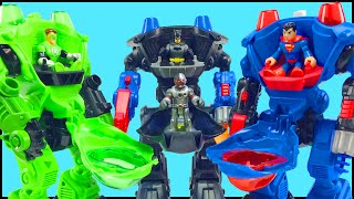 Batman Green Lantern Superman Battle Bane Lex Luthor Brainiac in Imaginext Robot Battle Slam Video