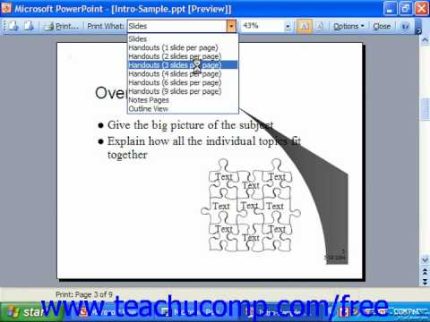 PowerPoint 2003 Tutorial Using Print Preview 2003 & XP Microsoft Training Lesson 15.3