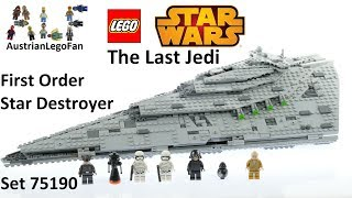 Lego Star Wars Last Jedi 75190 First Order Star Destroyer - Lego Speed Build Review