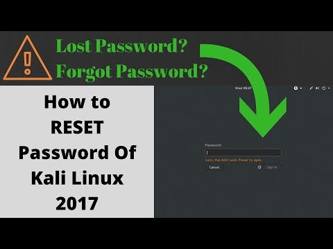 How to RESET Password of Kali Linux | Tutorial | 2017