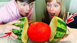 SKIN A WATERMELON PARTY TRICK!! 🍉 (Easy Watermelon Life Hacks You MUST Try)
