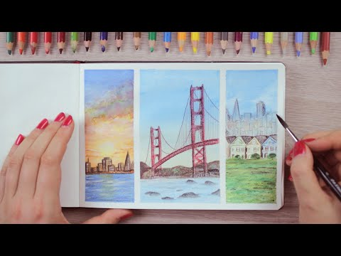 Watercolor Pencils Painting Ideas San Francisco Inspired | Art Journal Thursday Ep. 45
