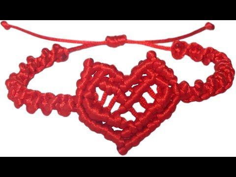 DIY How to make bracelet heart string thread macrame adjust crafts easy San Valentin gift ideas