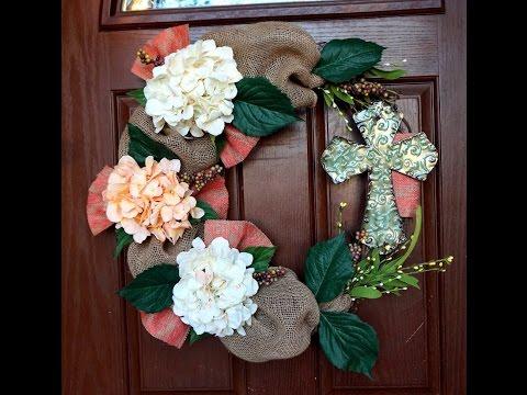 Burlap Easter Wreath with Cross Tutorial