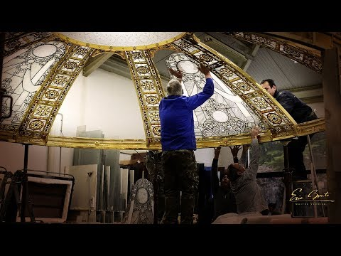 Stained glass dome in progress - skylight Installation by France Vitrail International