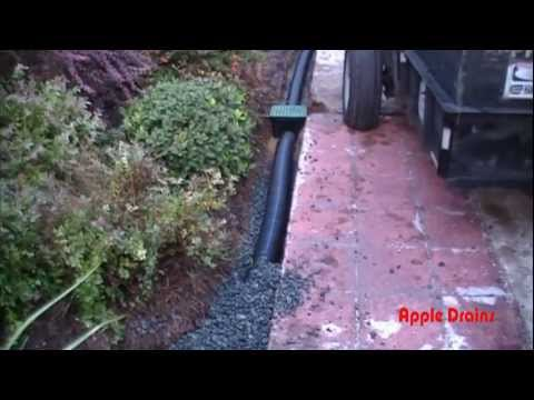 Perforated Pipe, Holes Point Down!  Yard Drain, Gravel Drain, French Drain