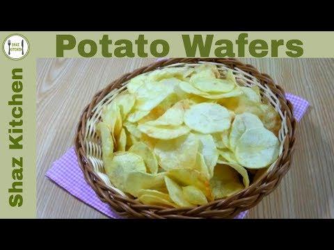 Potato Wafer|Aloo Chips Recipe(In Urdu/Hindi)How To Make Crispy Thin Potato Chips By Shaz Kitchen