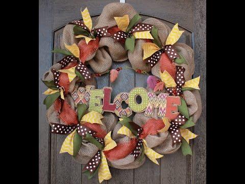 Burlap Wreath Tutorial Part 2 I Adding Ribbon