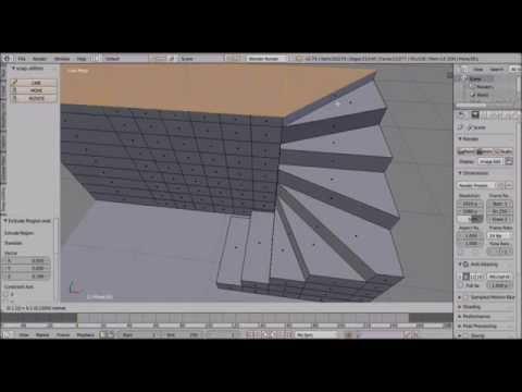 Making Stairs in Blender. Addon Snap Utilities