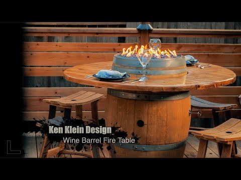 Wine Barrel Fire Table, featuring Celestial Fire Glass